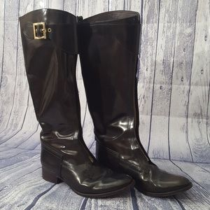 Tory Burch Brown Patent Leather Knee High Boots